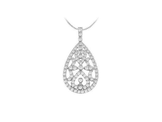 Drop Diamond Pendant  14K White Gold - 0.50 CT Diamonds