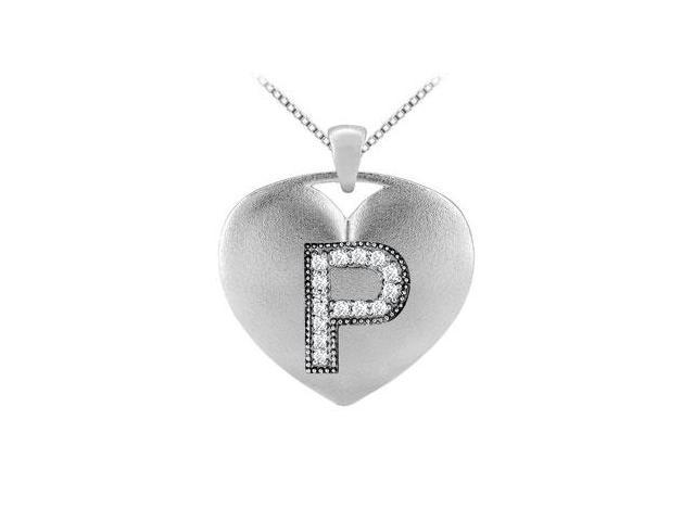 14k white gold milgrain set diamond initial P heart pendant with 0.14 carat tdw