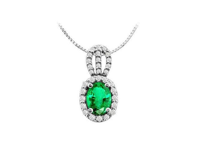 Oval Frosted Emerald and Round Cubic Zirconia Pendant in 14K White Gold 3.50 Carat TGW