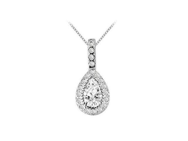 Cubic  Zirconia Round and Pear Shape Design Pendant in 14K White Gold 3 Carat TGW