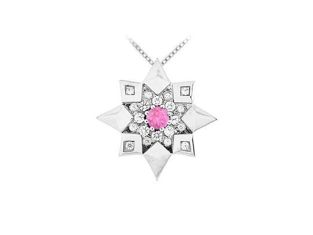 Pink Sapphire and Diamond Star Pendant  14K White Gold - 0.66 CT TGW