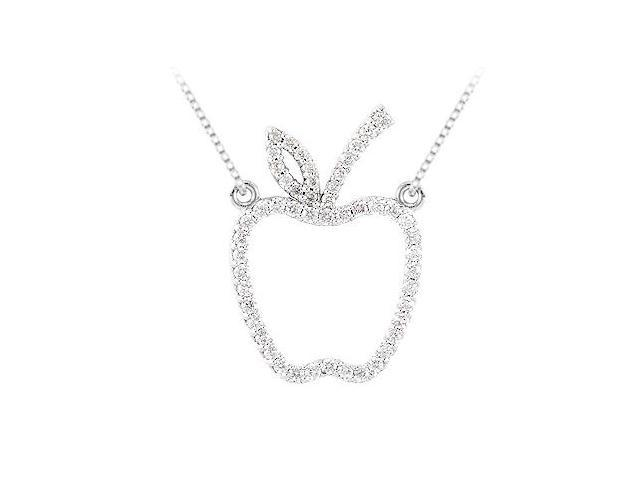 0.25 carat Cubic Zirconia Tiffany inspired Apple Necklace in Sterling Silver
