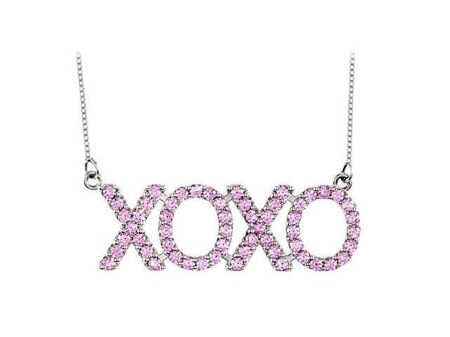 Pink CZ XOXO Necklace in 18 Inch Sterling Silver Total Gem weight 1 Carat