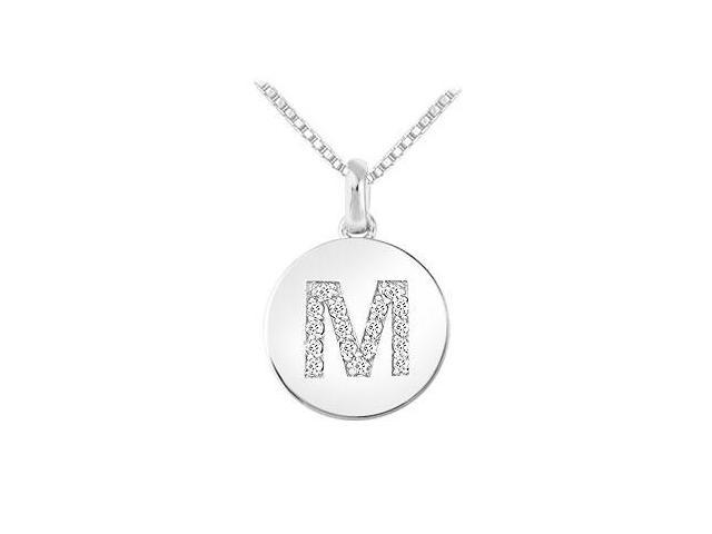 Diamond Disc Initial M Pendant  14K White Gold - 0.20 CT Diamonds