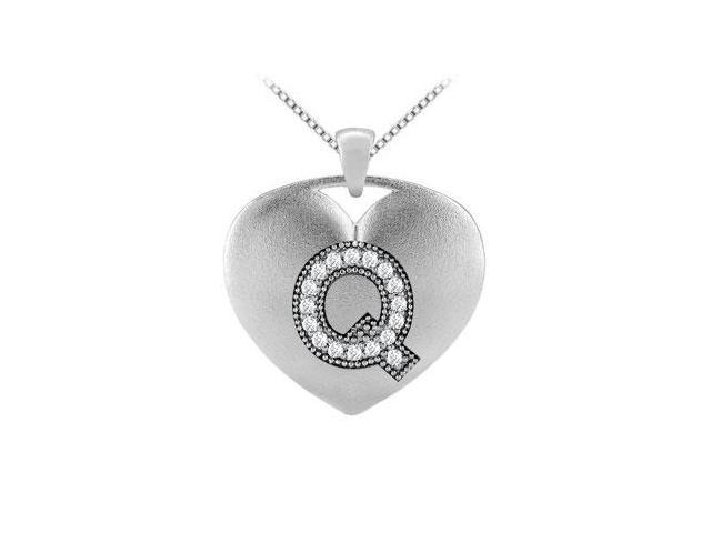 diamond pendants initial Q heart design in white gold 14k with 0.17 carat diamonds