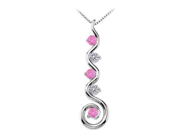 September Birthstone Created Pink Sapphire and CZ Spiral Pendant in 14K White Gold 0.75 CT TGW