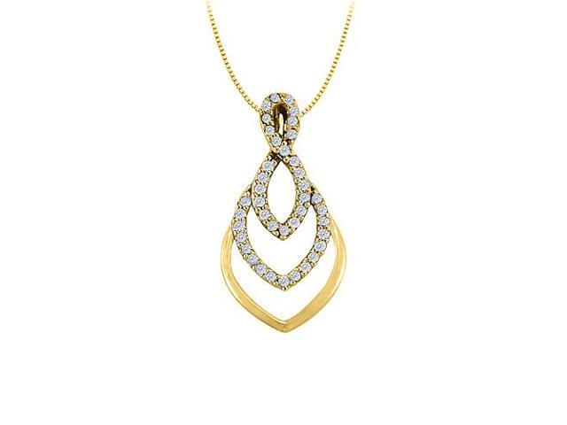 Cubic Zirconia Fashion Pendant in Yellow Gold Vermeil over Sterling Silver 0.25 CT TGW