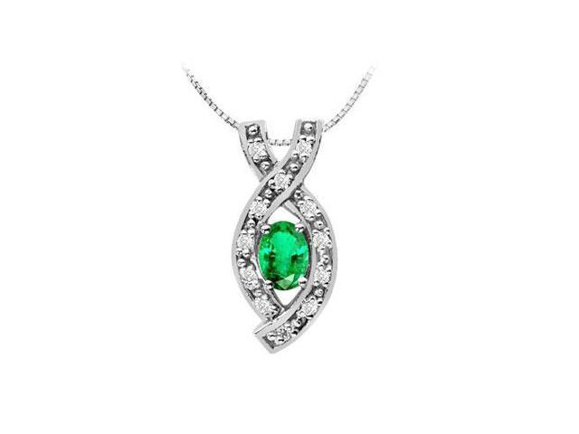 Designer Pendant with Frosted Emerald Oval and Round CZ in 14K White Gold 1.25 Carat TGW