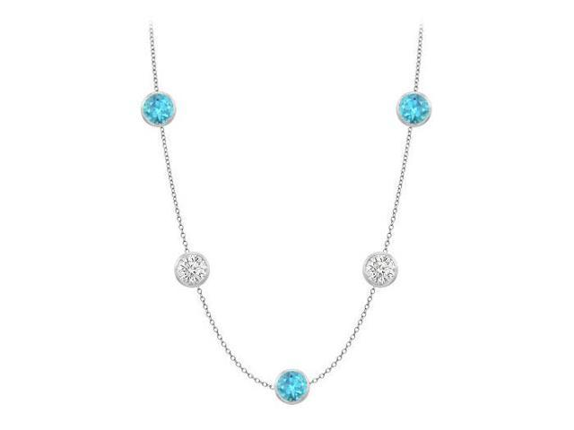 Bezel set blue topaz by yard necklace with cubic zirconia in 14k white gold cable chain 36 inch