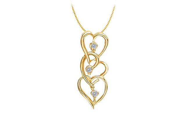 Diamond Three Heart Pendant in 14K Yellow Gold 0.75 CT TDWPerfect Jewelry Gift for Women