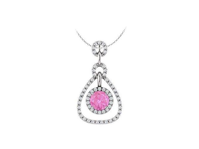 September Birthstone Pink Sapphire and CZ Tear Drop Halo Pendant 14K White Gold 1.50 CT TGW