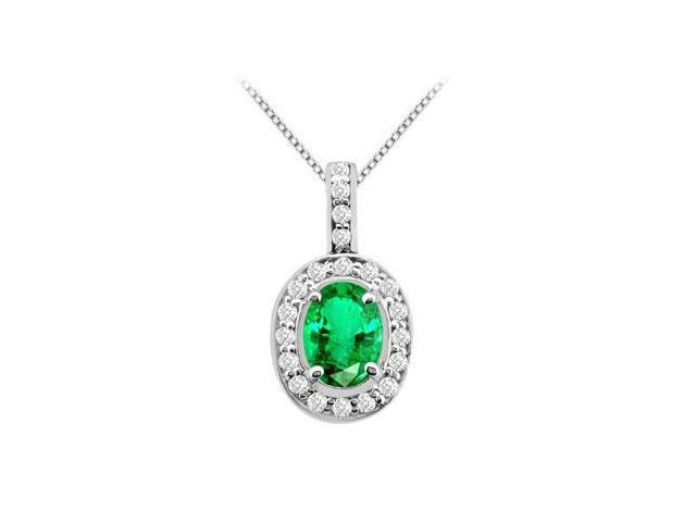 Frosted Emerald Oval Shape and Round CZ Pendant in White Gold 14K Total Gem Weight of 2.50 Carat