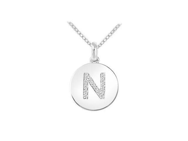 Diamond Disc Initial N Pendant  14K White Gold - 0.15 CT Diamonds