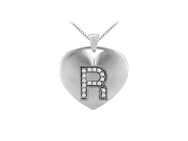 Alphabet R Diamond Heart Initial Pendant in 14K White Gold with 0.16 Carat Diamonds