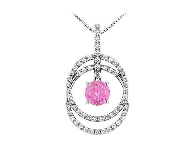 September Birthstone Pink Sapphire and CZ Double Row Circle Pendant 14K White Gold 1.75 CT TGW