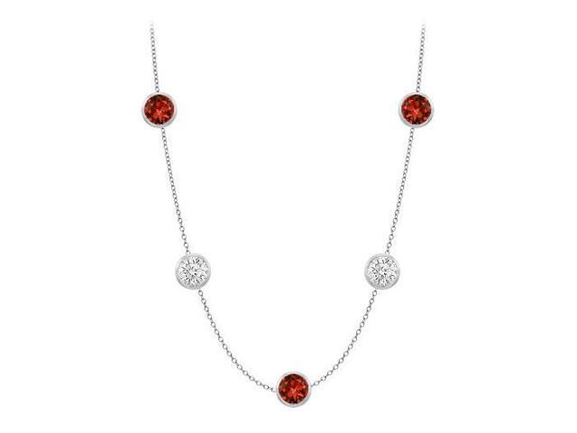 Garnet necklace by the yard with cubic zirconia 35 carat in 14k white gold 36 inch long cable ch