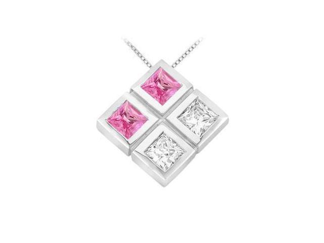 Pink Sapphire and Diamond Pendant  14K White Gold - 1.00 CT TGW