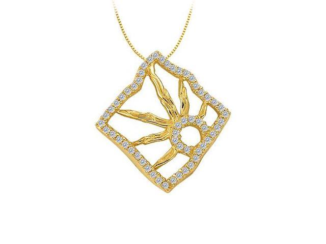 Cubic Zirconia Squarish Pendant in Gold Vermeil over Sterling Silver 0.25 CT TGWJewelry Gift