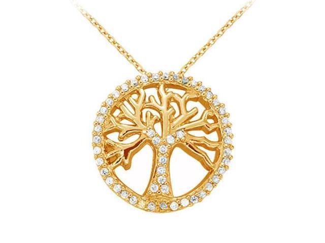 Diamond Fancy Circle Fashion Pendant in 14K Yellow Gold 0.25 CT TDWJewelry Gift for Women