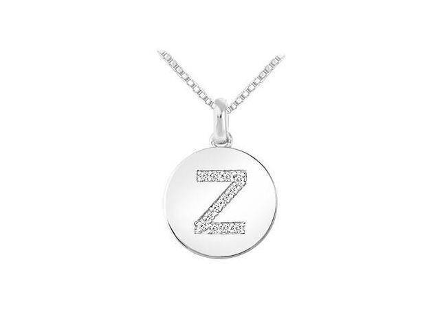 Diamond Disc Initial Z Pendant  14K White Gold - 0.15 CT Diamonds