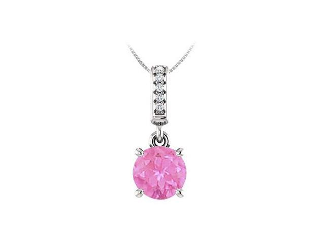 September Birthstone Created Pink Sapphire Pendant with CZ in 14kt White Gold 1.05 CT TGW