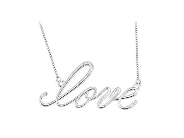 Rhodium Plated Sterling Silver Script LOVE Necklace Cubic Zirconia of 0.08 Carat