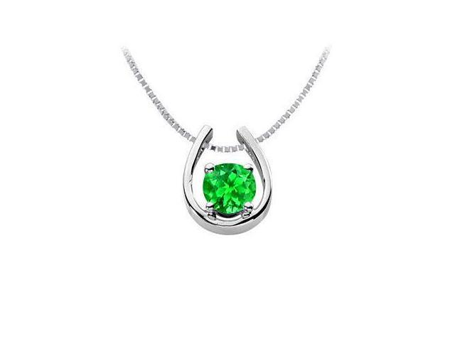 Frosted Emerald Horseshoe Pendant in Rhodium Treated 925 Sterling Silver 1.00 Carat TGW