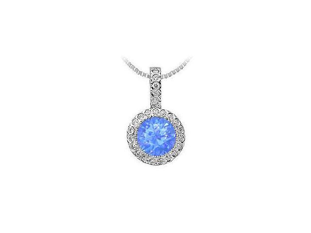 Pave Set Cubiz Zirconia and Diffuse Sapphire Pendant in 925 Sterling Silver 1.25 Carat TGW