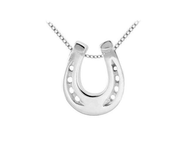Horseshoe Design in Rhodium Sterling Silver Pendant