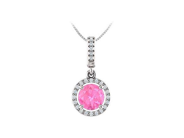 September Birthstone Pink Sapphire and CZ Halo Gemstone Pendant 14K White Gold 1.25 CT TGW