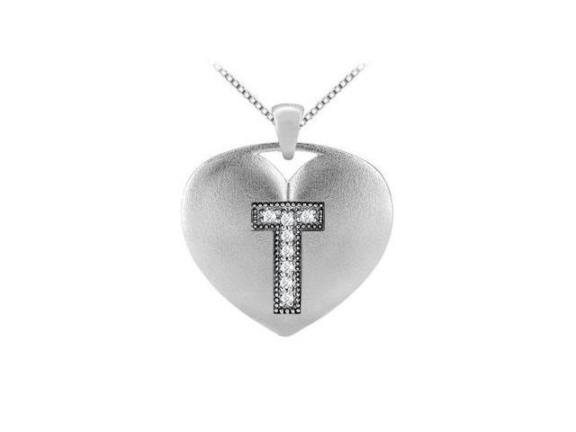 White Gold 14K Heart Initial T Pendant with 0.08 Carat diamonds