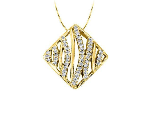 Cubic Zirconia Square Shaped Pendant in Gold Vermeil over Sterling Silver 0.25 CT TGW