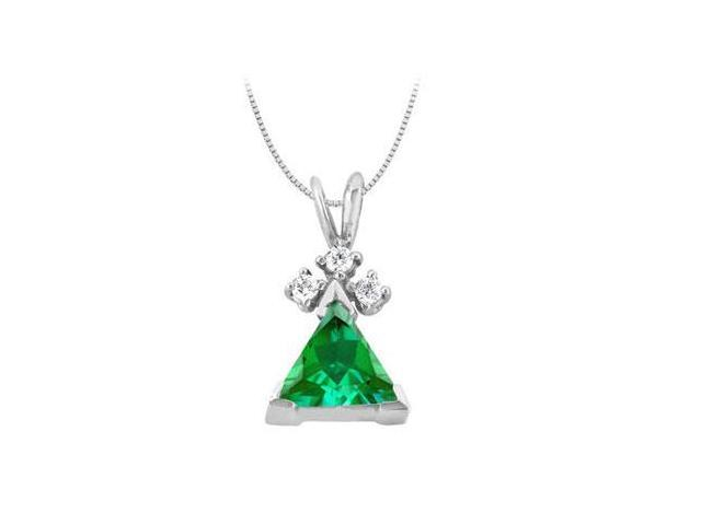 Triangle Frosted Emerald and Round Cubic Zirconia Pendant in 14K White Gold 1.60 Total Gem Weigh