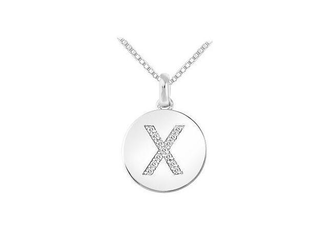 Diamond Disc Initial X Pendant  14K White Gold - 0.15 CT Diamonds