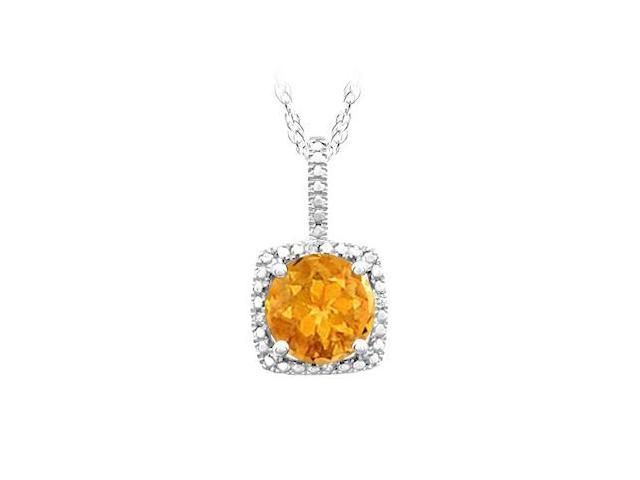 November Birthstone Citrine and Diamond Pendant in 925 Sterling Silver 1.50 CT TGW