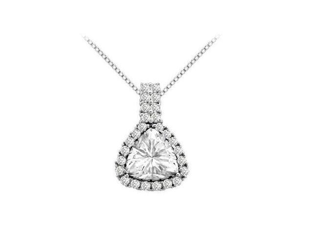 Round and Trillion Cut Zirconia Pendant in 14K White Gold 2.75 Carat Total Gem Weight