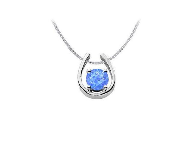 Rhodium Treated 925 Sterling Silver Diffuse Sapphire Horseshoe Pendant with 1.00 Carat TGW