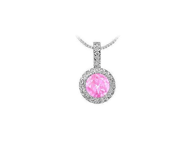 1 Carat Pink Sapphire Pendant with Cubic Zirconia in Rhodium Treated Sterling Silver 1.25 CT TGW