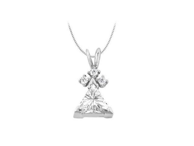 14K White Gold Triangle Cubic Zirconia Pendant with 2.60 Carat Total Gem Weight