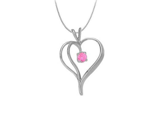 September Birthstone Pink Sapphire Heart Pendant in 14kt White Gold  0.33 CT TGW