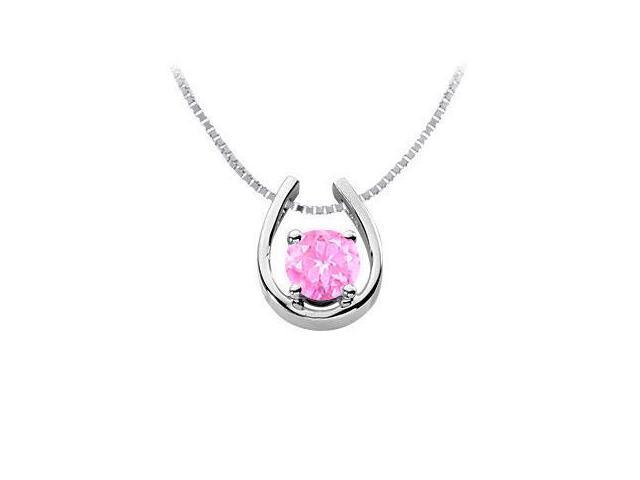 Pink Sapphire Horseshoe Pendant in Rhodium Treated .925 Sterling Silver 1.00 Carat TGW