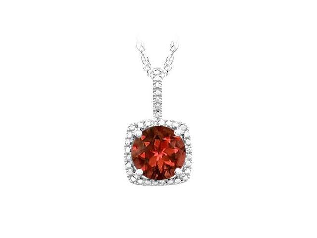 January Birthstone Garnet and Diamond Pendant in 925 Sterling Silver 1.50 CT TGW