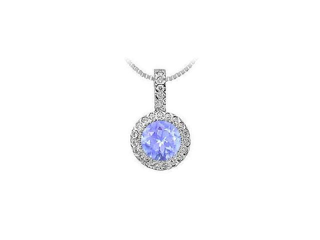 .925 Sterling Silver Pendant with Tanzanite and Cubic Zirconia 1.25 Carat TGW