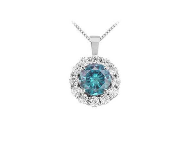 Blue Diamond Circle Pendant  14K White Gold - 1.50 CT Diamonds