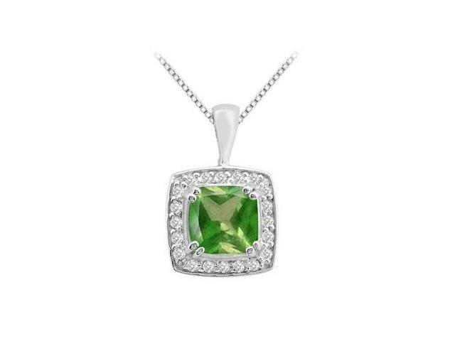 Cushion cut Frosted Emerald Pendant with Round CZ in 14K White Gold 2.75 Carat Total Gem Weight