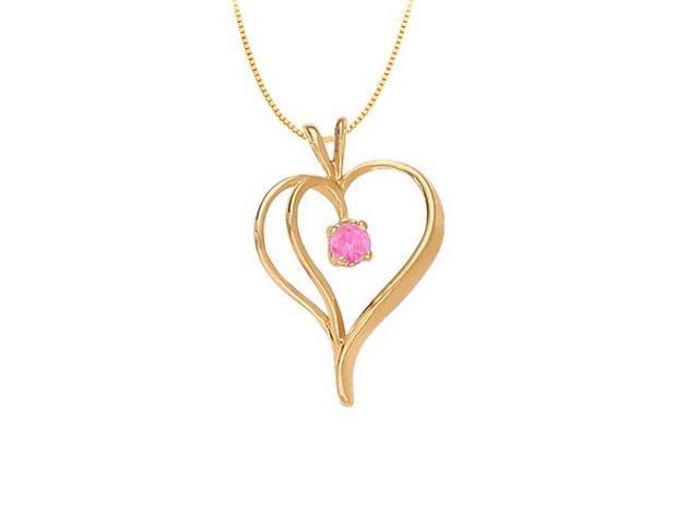 September Birthstone Pink Sapphire Heart Pendant in 14kt Yellow Gold  0.33 CT TGW