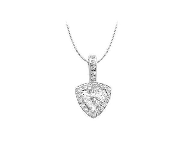 14K White Gold Cubic Zirconia Round and Trillion Cut Pendant 3 Carat Total Gem Weight