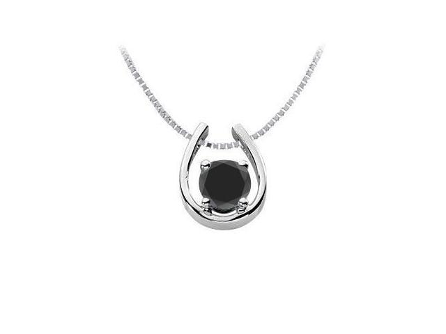 Black Onyx Horseshoe Pendant in Rhodium Treated .925 Sterling Silver 1.00 Carat TGW
