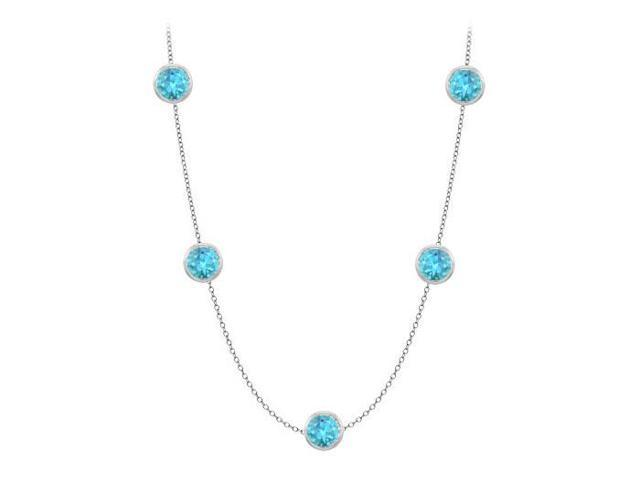 By The Yard Blue Topaz Station Necklace in 14K white gold Fifty Carat with 36 Inch Length