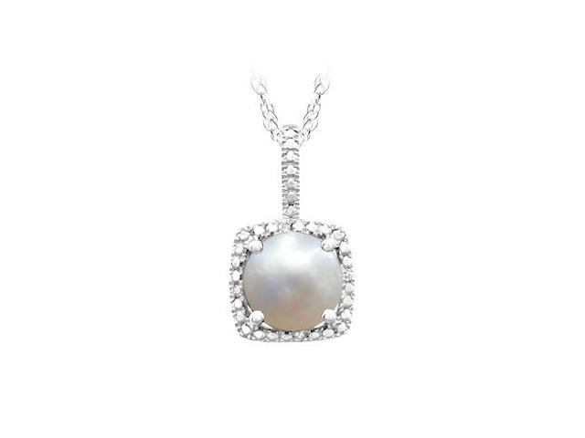 June Birthstone Pearl and Diamond Pendant in 925 Sterling Silver 1.50 CT TGW